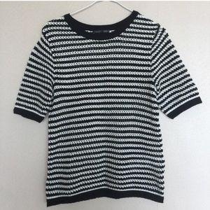 Zara B&W knit striped top.